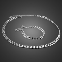New fashion men's 6mm chain 51cm necklace 20cm bracelet set 925 sterling silver chain sleeve men's children/men's silver jewelry