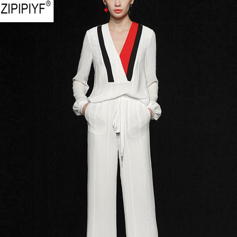 Designer Clothing Set Women Spring Vintage Print Solid Long Sleeve Blouses Tops And Wide Leg Elegant Long Pants Suit Set C153