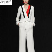 Designer Clothing Set Women Spring Vintage Print Solid Long Sleeve Blouses Tops And Wide Leg Elegant Long Pants Suit Set C153