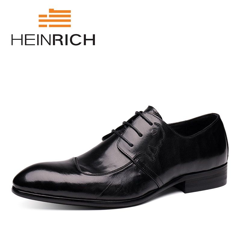 HEINRICH Genuine Leather Men Shoes 2018 High Quality Derby Lace-Up Pattern Business Shoes Men Formal Wedding Shoes Scarpa Uomo heinrich spring autumn vintage style formal shoes derby dress shoes men high quality classic business shoes sepatu kantor pria