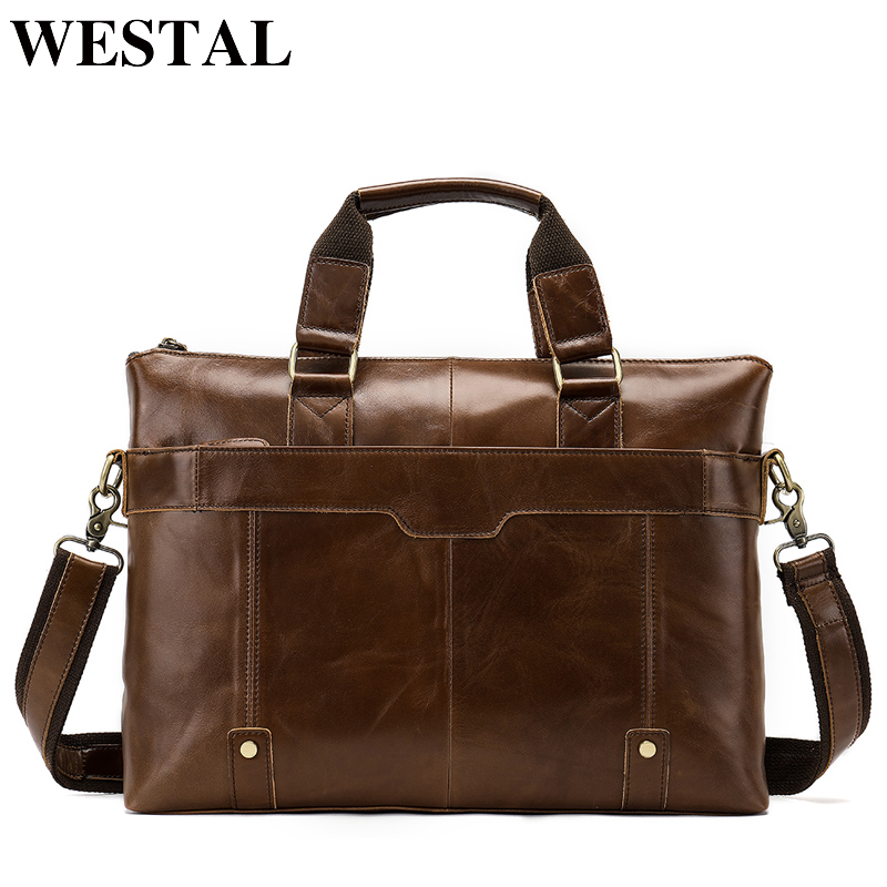 WESTAL Genuine Leather bag Business Men bags Laptop Tote Briefcases Crossbody bags Shoulder Handbag Men s