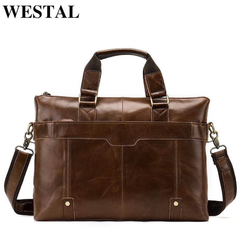 купить WESTAL Genuine Leather bag Business Men bags Laptop Tote Briefcases Crossbody bags Shoulder Handbag Men's Messenger Bag 7108 онлайн