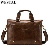 WESTAL Genuine Leather bag Business Men bags Laptop Tote Briefcases Crossbody bags Shoulder Handbag Men's Messenger Bag 7108