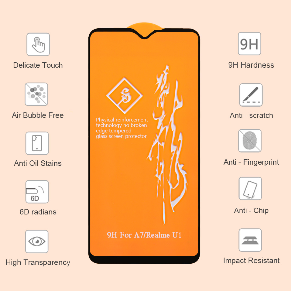 6D Glass for OPPO F7 R15 R17 F9 Pro Screen Protector Full Cover Tempered Glass for OPPO Realme 2 Pro U1 C1 A5 A3s A7 A71 A83 K1 1