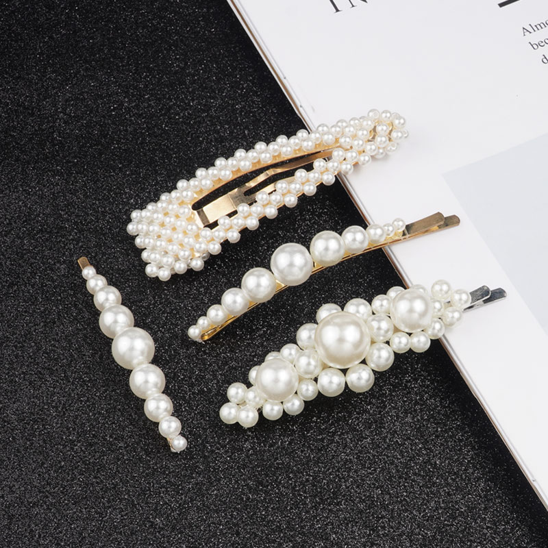 Large Barrettes Snap Pearl Hair Clips For Women Girls Bobby Pins Korean Hairpins Hairgrip Fashion Styling Tool Hair Accessories