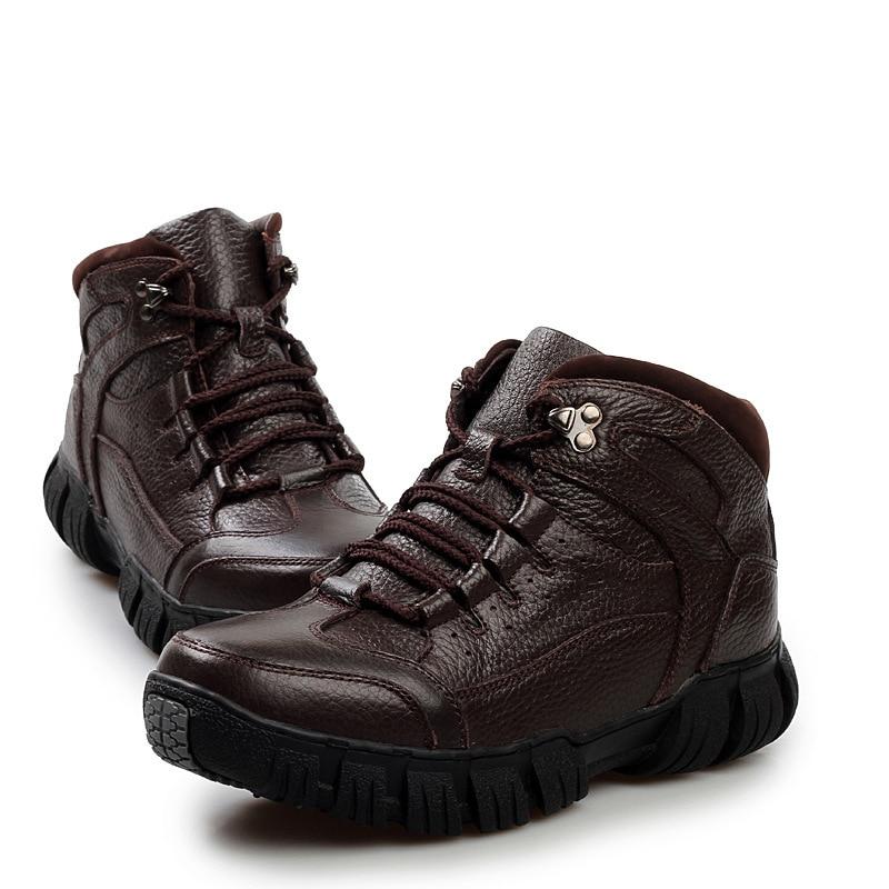 De Não Qualidade Sapatos black Couro Do Backcamel Fundo Alta Botas Inverno Quente Homens Pai deslizamento Pés Algodão Lã Grosso Definir Brown Dos 1Pt0dn0xH