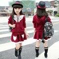 Высокое качество! 2015 новый Осень детская одежда сладкая девочка пальто + юбка из двух частей костюм ребенка с длинным с длинными рукавами случайные юбка костюм