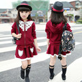 High quality!2015 new Autumn children's clothing sweet baby girl coat+skirt two piece suit child long-sleeved casual skirt suit
