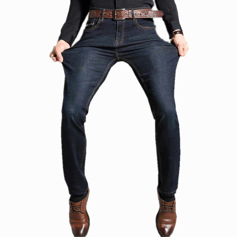 NEW Jeans Business Casual plus size Straight Fit Blue Jeans Stretch large size Denim Pants Trousers Classic Cowboys Young Man