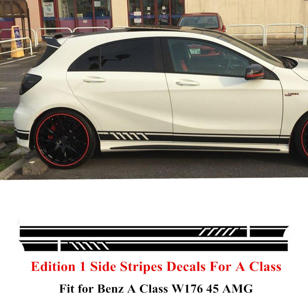 Edition 1 Style Side Stripes Skirt Decals Sticker for Mercedes Benz A Class W176  A45 AMG Matte/Gloss/5D Carbon Fibre Black
