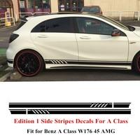 Phiên bản 1 Phong Cách Side Stripes Váy Decals Sticker đối với Mercedes Benz A Class W176 A45 AMG Matte/Gloss/5D Carbon Fibre Đen