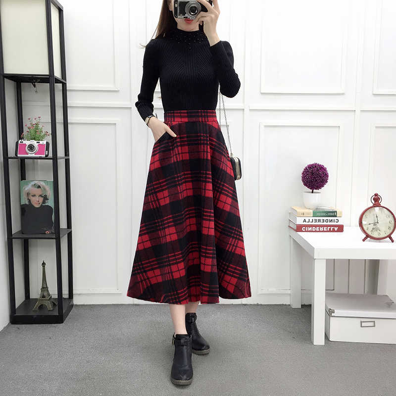 High Waist Woolen Skirts Womens Winter 2019 Fashion Streewear Wool Long Pleated Skirt Pockets Casual Ladies Saia Longa Plaid