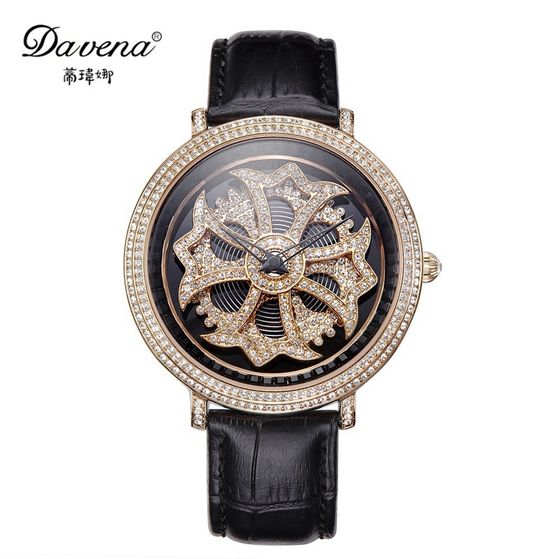 Luxury Lady Crystal Rose Leather Watch Women Run Bling Rhinestone Stone Fashion Casual Quartz Watches Famous Brand Davena 30330 2017 new arrivals famous brand full diamond luxury women watch lady dress watch rhinestone bling crystal bangle watches female