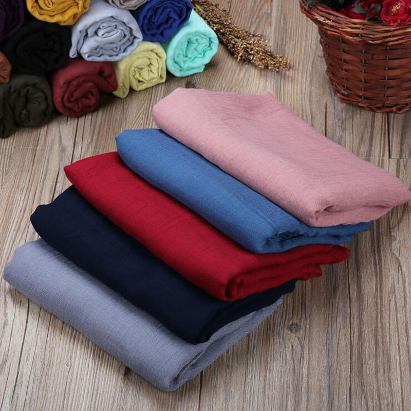 2017 Newest Big Size Plain Solid Color   Scarf   Women Autumn Warm Cotton   Scarves     Wraps   Cotton Hijab Muslim Shawl 180*150CM