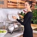 Кухонная 304 Нержавеющая сталь сушилка для слива посуды корзина для слива настенная двойная стойка 4 шт. крючок