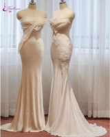 Waulizane Delicate Appliques Sweetheart Mermaid Wedding Dress Lustrous Satin Embroidery Off The Shoulder Bridal Gown Hot