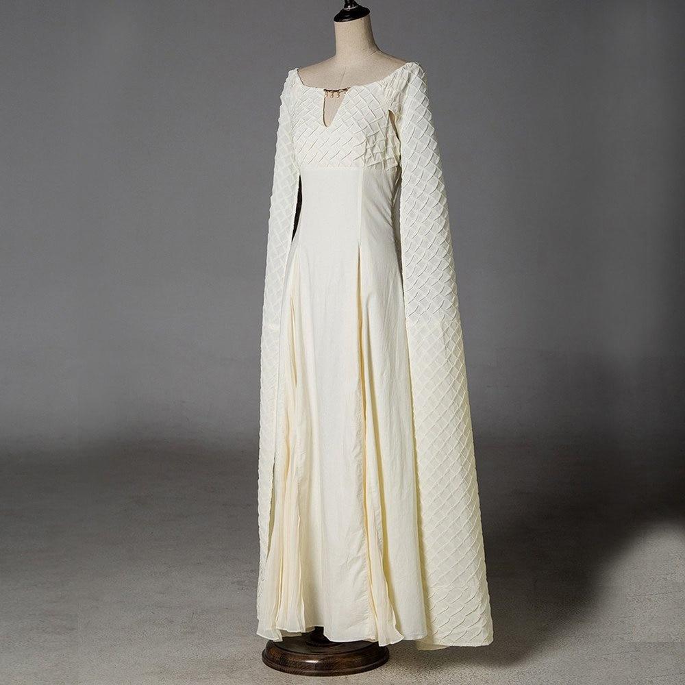 Game of Thrones 5 Daenerys Targaryen Costumi Cosplay Vestito Bianco Lungo  Vestito Da Partito di Halloween Abiti di Sfera per le Donne S in Game of Thrones  5 ... eebde5d28b9