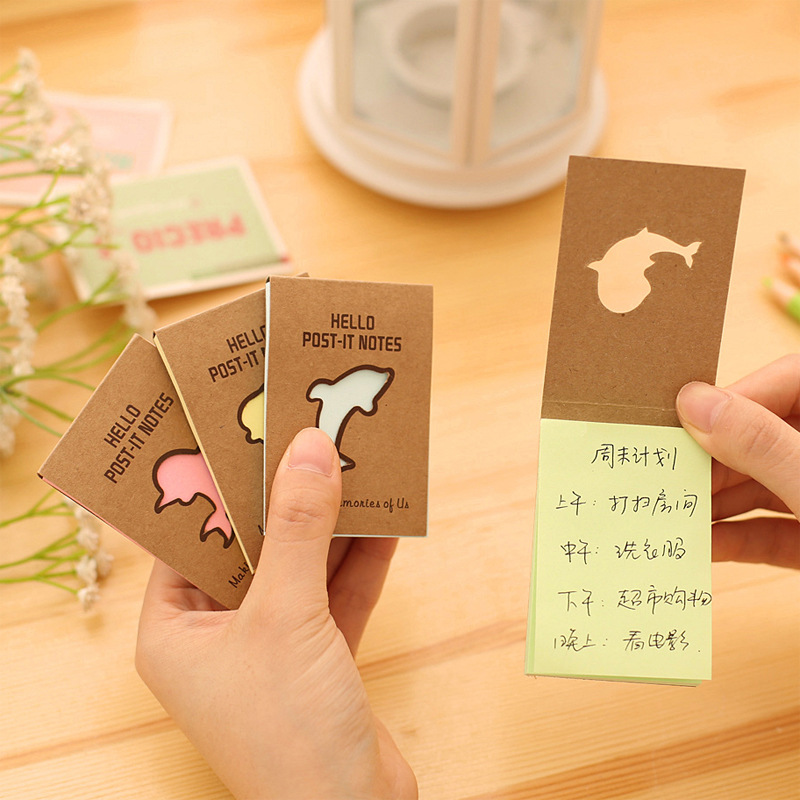 50Pages/Pack kraft paper Cute Dolphin Hollow N Times Memopad Notebook Book Hello Post It Notes Memo Pad Stickers E0264