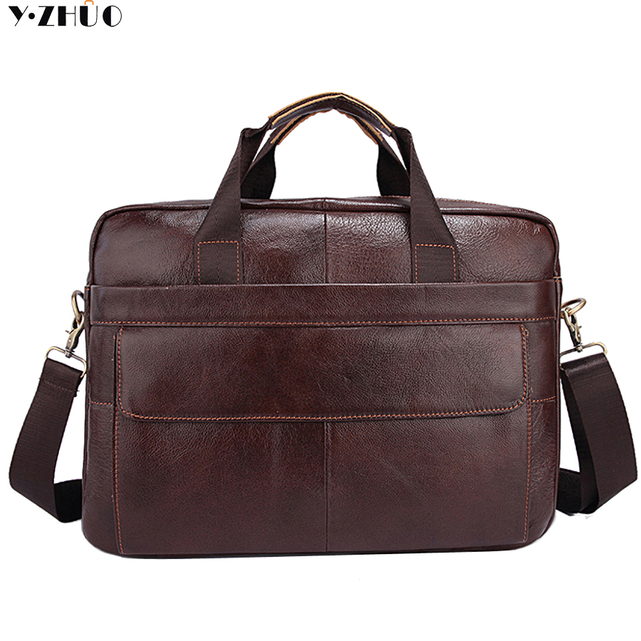 Genuine Leather Mens Briefcase Laptop Bags Men Travel Bag Cowhide Men Shoulder messenger bags Business Man Handbag bolsa