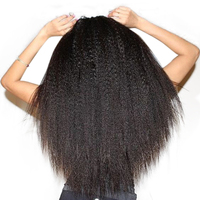 Brazilian Virgin Hair Kinky Straight Human Hair Weave Bundles Honey Queen Hair Products Natural Color Coarse Yaki Hair Weaving