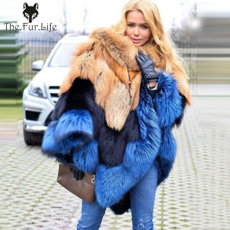 Winter Women's Coats Genuine Red Fox Fur Cape Warm Cloak Fashion Poncho Real Silver Fox Fur Shawl Female Scarf Cape
