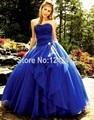 Vestido de Baile Sem Alças Organza Quinceanera Dresses Corset Voltar Elegante Azul Royal Quinceanera Vestidos Com Frisos QM217