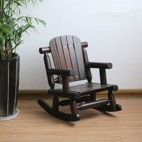 Child's Adirondack Rocking Chair Outdoor Patio Wood Bench Chair Solid Wood Log Deck Garden Furniture Single Rocker Kids Chair