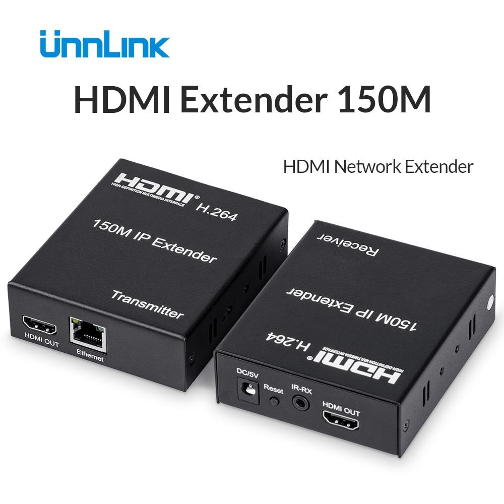 Unnlink HDMI Extender 150M FHD1080P@60 Over IP/TCP UTP/STP CAT5e/6 Rj45 LAN Network Extension Ethernet HDMI Splitter for tv box