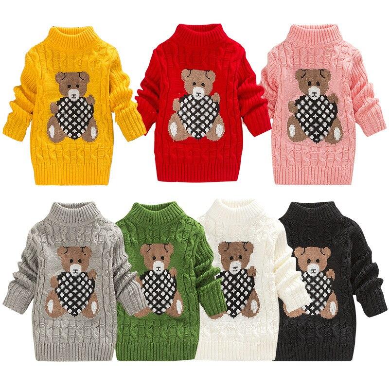 2018 inverno meninos meninas camisolas pulôver crianças roupas de bebê menina doce cor dos desenhos animados urso malha quente camisola crianças outerwear