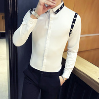 Blouse Homme High Quality Men Party Dress Shirt 2018 Spring New Slim Fit Mens Shirts Tuxedo Long Sleeve Groom Wedding Shirt Men