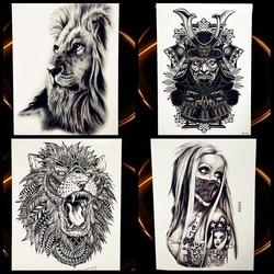 África Serengeti León tatuaje temporal Indio Tribal poderoso León Guerrero impermeable Flash tatuaje pegatina Negro hombres mujeres
