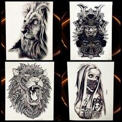 Afrika Serengeti Lion Temporäre Tattoo Indian Tribal Mighty Lion Krieger Wasserdicht Flash Tattoo Aufkleber Schwarz Tatoo Männer Frauen