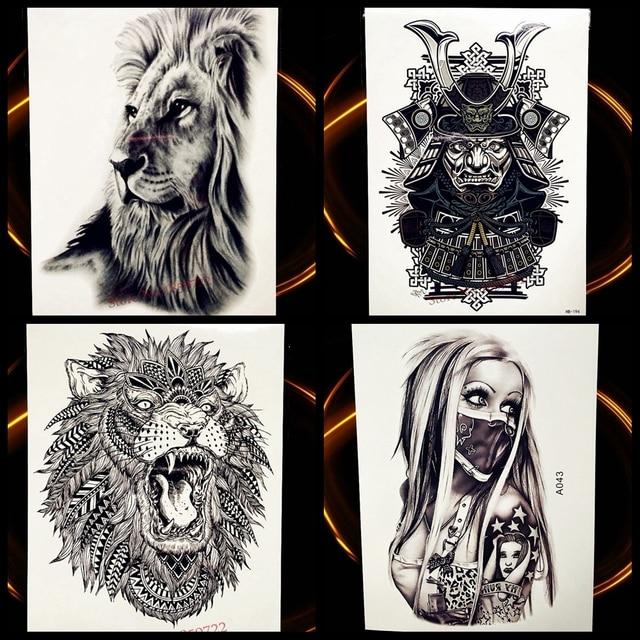 Afrique Serengeti Lion Temporaire Tatouage Indien Tribal Puissant