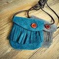 Nubuck Leather Child Kids Girl Boy Cowboy Button Tassels Mini Bags Hand Bag Messenger Shoulder Candy Coin Handbags Purse Satchel