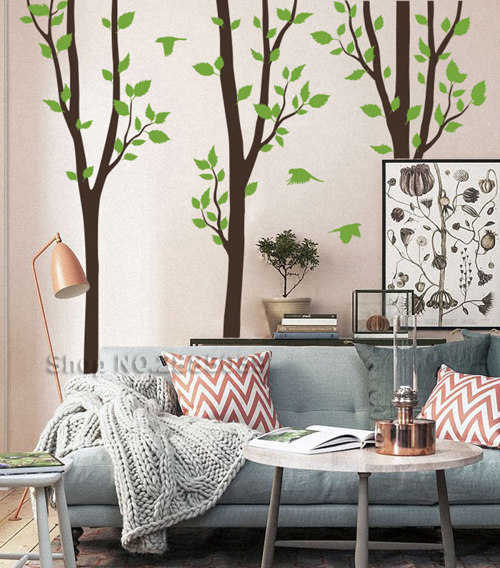Home & Garden Home Decor Sweet-Tempered 3 Tree Set Nature Large Tree Vinyl Wall Decals With Birds Mural Wall Decor Home Sticker Livingroom Bedroom Sofa Background Lc588