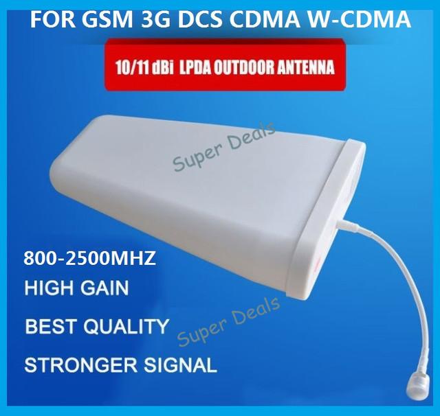 800-2500 mhz freqüência Dirigido Antena LPDA Antena Externa 10dbi Antena Externa para GSM DCS WCDMA UMTS 3G Repetidor de sinal