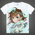 A Certain Scientific Railgun anime t-shirt Electro mestre arma eletromagnética Misaka Mikoto curto verão Cosplay camiseta