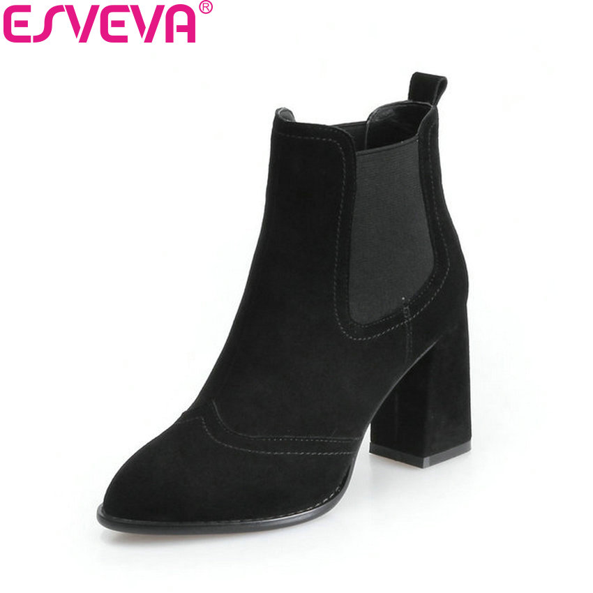 ESVEVA 2018 Women Boots Elegant Spring and Autumn Ankle Boots Short Plush Pointed Toe Square High Heel Ladies Shoes Size 34-39 esveva 2018 high heels women boots short plush boots square heels elegant chunky pointed toe ankle boots ladies shoes size 34 39
