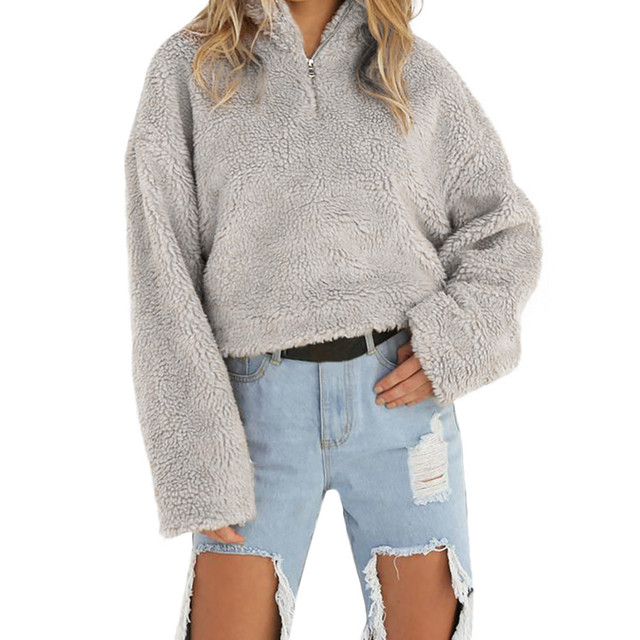 eed789f5bdc9 Feitong Women Soft Plush Hoodies Sweatshirts Winter Warm Causal Long ...