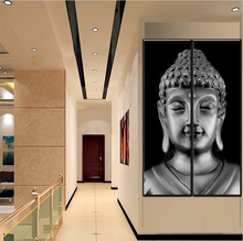 Two Pieces Canvas Wall Art Modern Grey Buddha Painting Half Combinated Oil Paintings By Numbers Decor