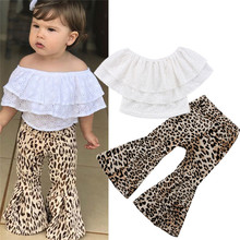 Детская одежда для маленьких девочек; кружевной пуловер без рукавов с открытыми плечами и оборками; топы с леопардовым принтом; расклешенные брюки; комплект из 2 предметов; хлопковая одежда для малышей