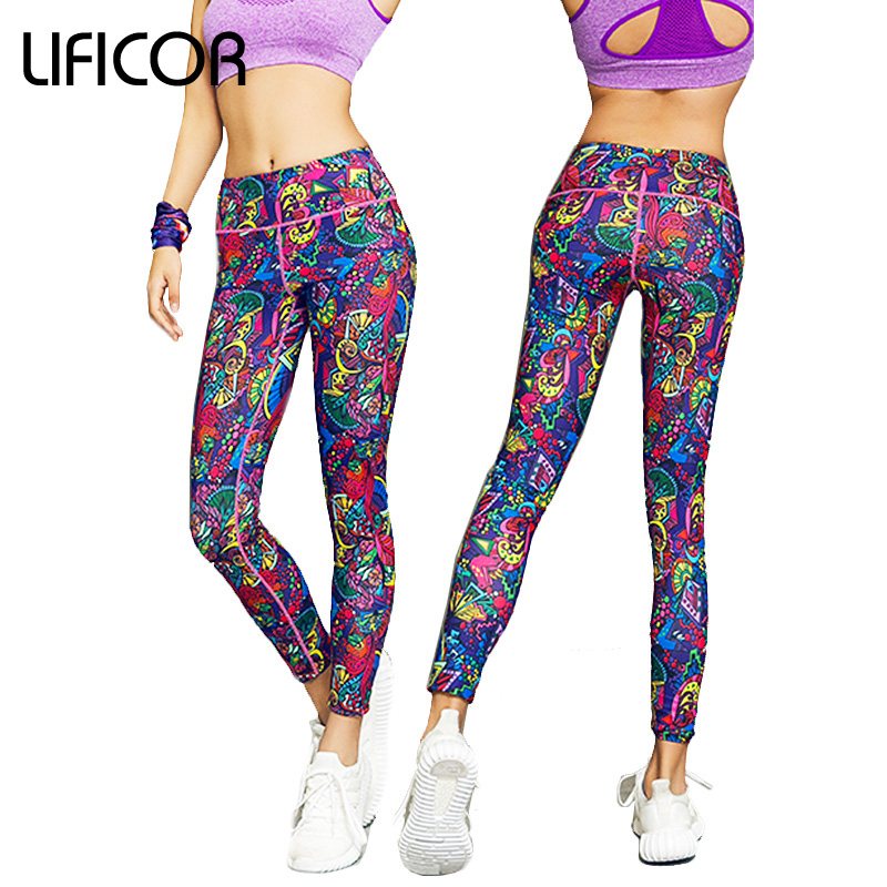 Kvinnor Fitness Yoga Byxor Sport Running High Elasticity Printed For Kvinnlig Slim Leggings Gym Kläder Mallas Mujer Deportivas