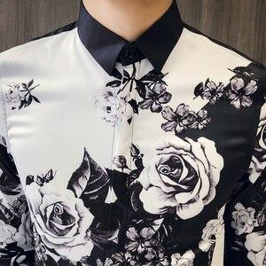 Image 2 - 품질 한국 턱시도 셔츠 남성 긴 소매 슬림 맞는 인쇄 남자의 사회 셔츠 캐주얼 나이트 클럽 가수 무대 의상 블라우스 3xl