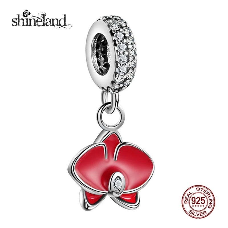 2017 Promotion Trendy Enamel Orchid Pendant Charm DIY Bracelet Necklace for Women Pure 925 Silver Jewelry Accessries