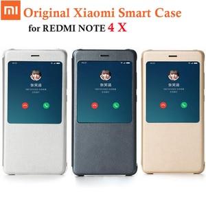 Image 1 - 100% original xiaomi redmi nota 4x caso da aleta de couro do plutônio para xiaomi redmi nota 4x4 x capa, genuíno xiaomi marca 5.5 polegada