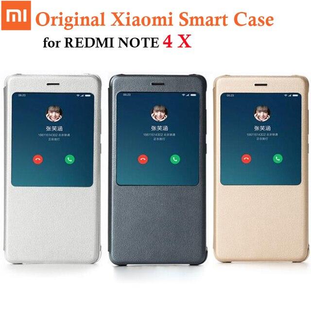 100% original xiaomi redmi nota 4x caso da aleta de couro do plutônio para xiaomi redmi nota 4x4 x capa, genuíno xiaomi marca 5.5 polegada