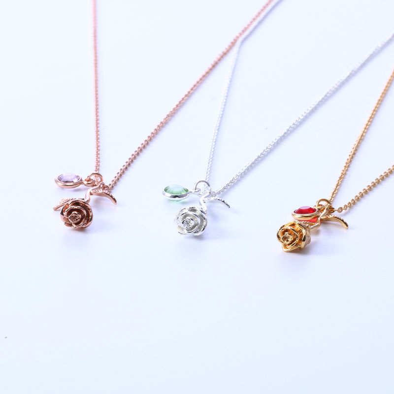 3um necklace for women rose flower pendant necklace personalized metal color aloadofball Gallery