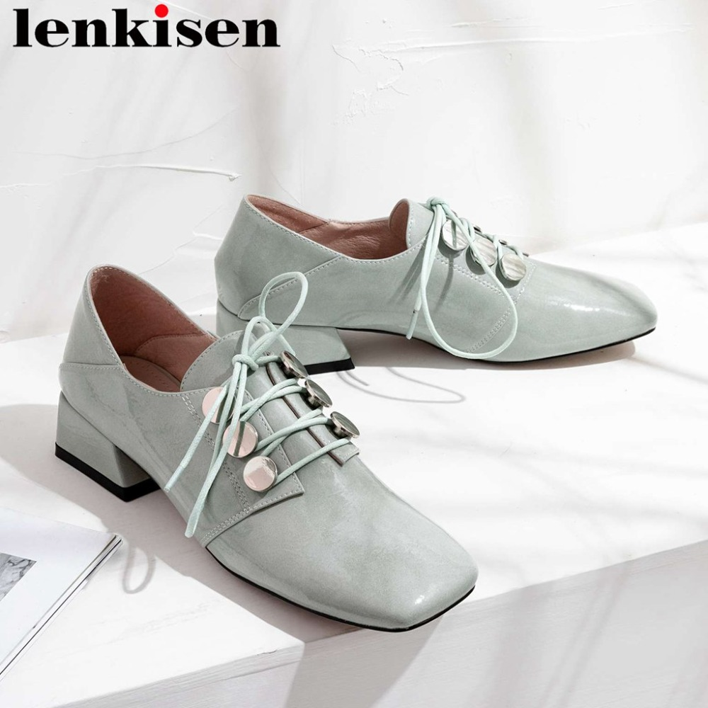 2019 preppy style lace up shallow chunky low heels vintage square toe simple style dating campus