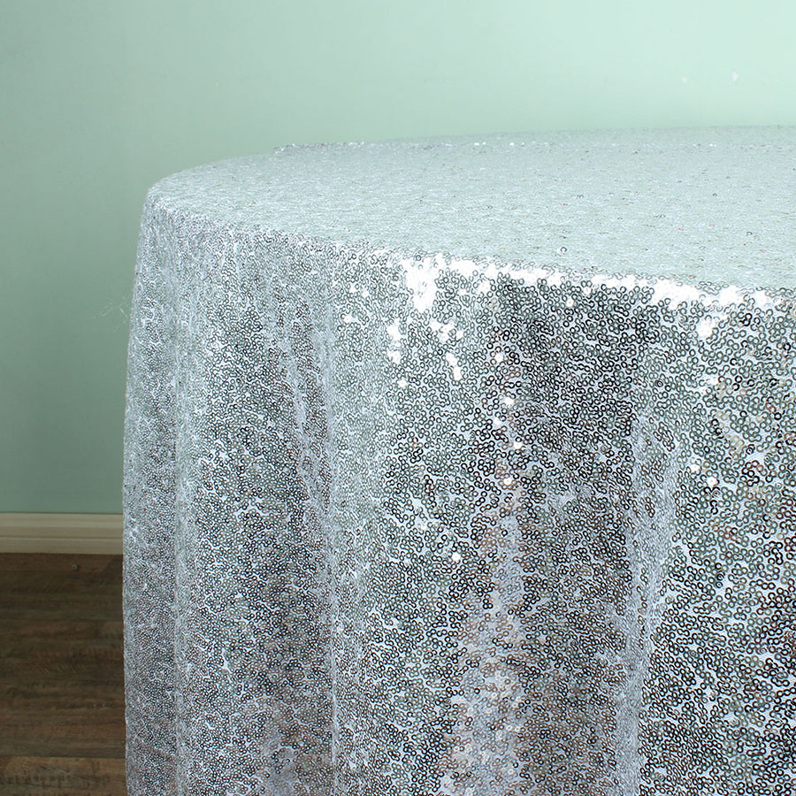 Silver 108 Round Sparkly Sequin Tablecloths Christmas Birthday Wedding Table Decoration In From Home Garden On Aliexpress Alibaba Group