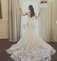 vestido de noiva 2016 White Bateau Appliques Cheap Custom Beaded Sash Half Sleeve Lace Bridal Dress Mermaid Wedding Dresses